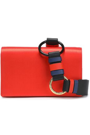 DIANE VON FURSTENBERG Color-block leather and satin shoulder bag