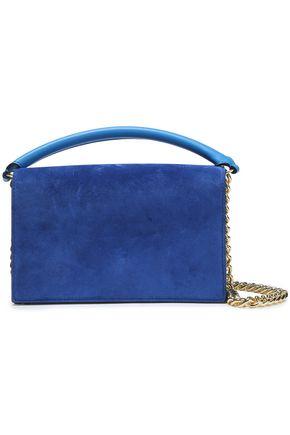 DIANE VON FURSTENBERG Color-block leather and suede shoulder bag