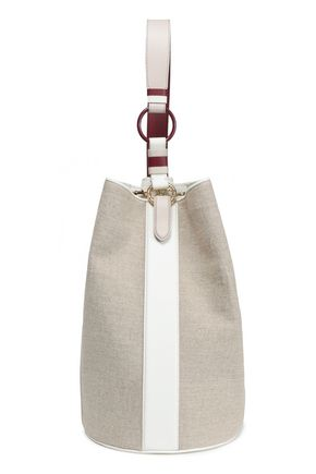 DIANE VON FURSTENBERG Leather-trimmed canvas bucket bag