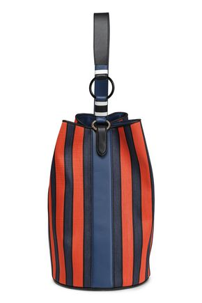 DIANE VON FURSTENBERG Leather-trimmed striped raffia bucket bag