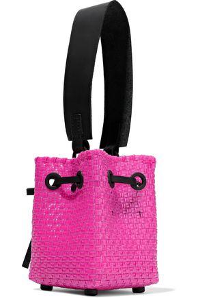 TRUSS Leather-trimmed woven raffia-effect bucket bag
