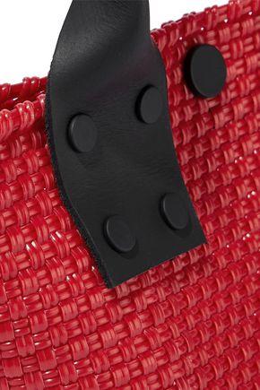 TRUSS Leather-trimmed woven shoulder bag
