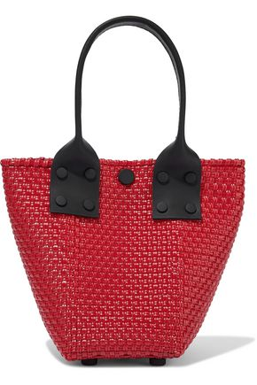 TRUSS Leather-trimmed woven shoulder bag