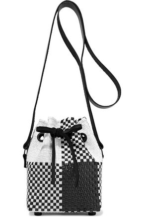 TRUSS Checked woven raffia-effect bucket bag