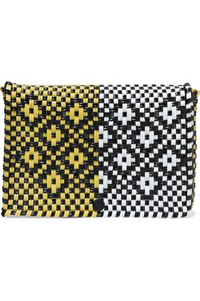TRUSS Two-tone woven raffia-effect clutch