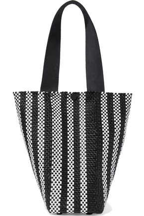 TRUSS Le Sac striped woven raffia-effect tote