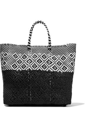 TRUSS Two-tone woven raffia-effect tote