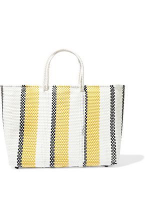 TRUSS Striped woven raffia-effect tote