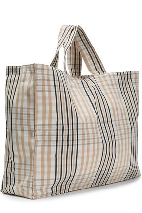 GANNI Phillips embroidered checked cotton tote