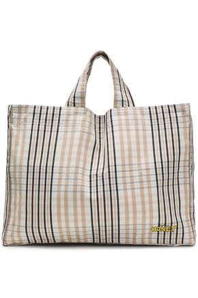 GANNI Checked cotton tote