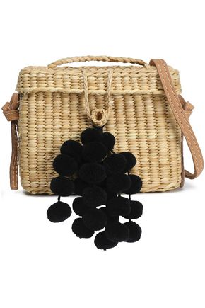 NANNACAY Pompom-embellished woven shoulder bag