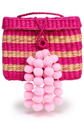 NANNACAY Pompom-embellished striped straw tote