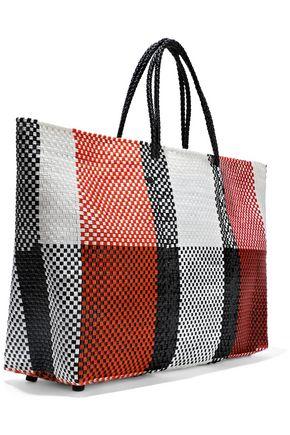 TRUSS Color-block woven raffia-effect tote