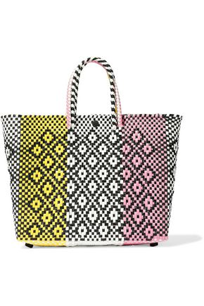 TRUSS Color-block woven raffia-effect tote