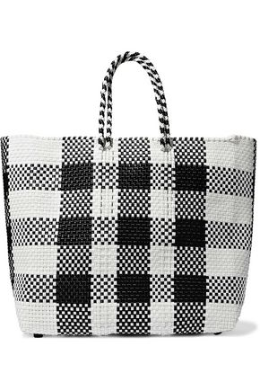 TRUSS Checked woven raffia-effect tote