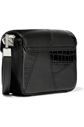 ALEXANDER WANG Patchwork suede, croc-effect and textured-leather shoulder bag