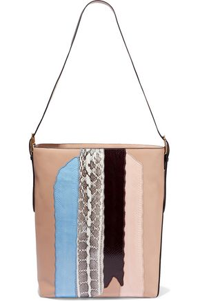 DIANE VON FURSTENBERG Origami paneled watersnake and leather tote
