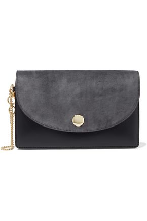 DIANE VON FURSTENBERG Suede and leather clutch