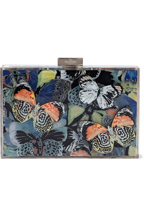 VALENTINO GARAVANI حقيبة كلاتش من مادة برسبكس مطبعة برسومات ومزينة