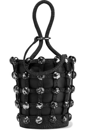 ALEXANDER WANG Roxy studded denim-trimmed leather bucket bag