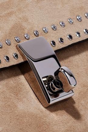 VALENTINO GARAVANI Crystal-embellished suede clutch