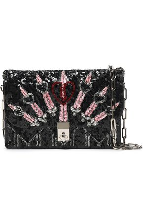 VALENTINO GARAVANI Embellished leather shoulder bag