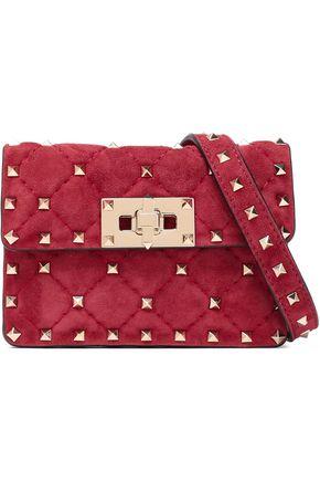 VALENTINO GARAVANI Studded quilted suede shoulder bag