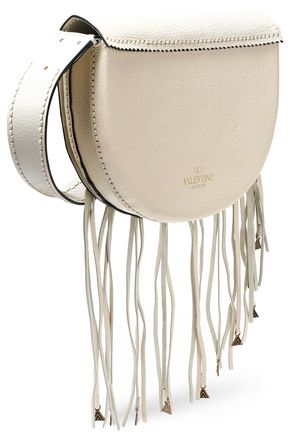 VALENTINO GARAVANI Embellished fringed textured-leather shoulder bag
