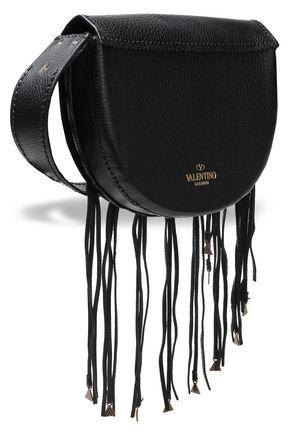 VALENTINO GARAVANI Embellished fringed textured-leather shoulder bag