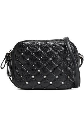 VALENTINO GARAVANI Studded quilted cracked-leather shoulder bag