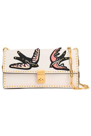VALENTINO Rockstud appliquéd leather shoulder bag