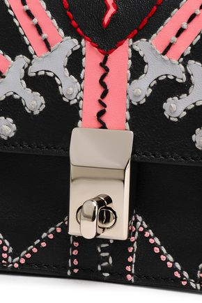 VALENTINO GARAVANI Embroidered leather shoulder bag