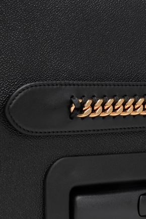 STELLA McCARTNEY Chain-trimmed faux pebbled-leather suitcase