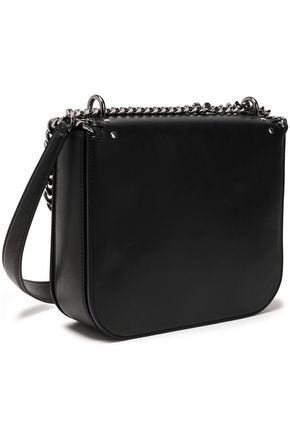 STELLA McCARTNEY Studded embroidered faux leather shoulder bag