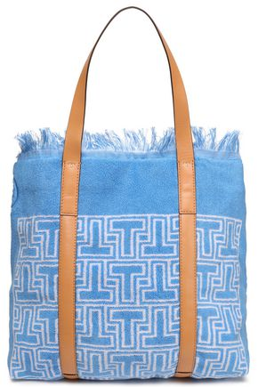TORY BURCH Faux leather-trimmed printed terry tote