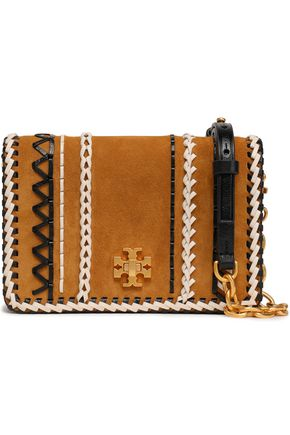 TORY BURCH Whipstitch-trimmed leather and suede shoulder bag