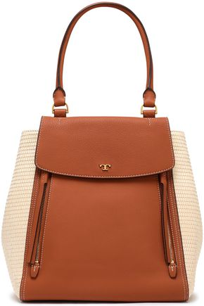 TORY BURCH Straw and textured-leather tote