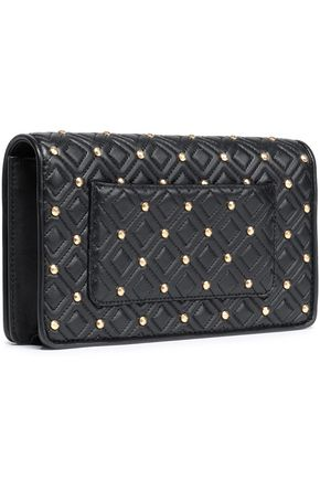TORY BURCH Studded quilted leather clutch