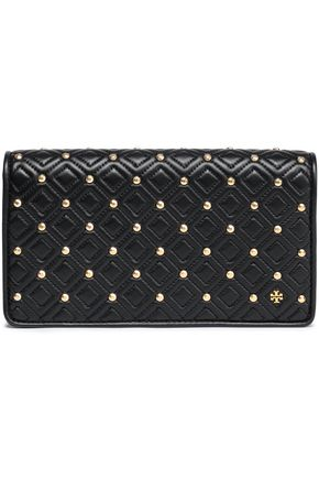 TORY BURCH | Tory Burch Studded Quilted Leather Clutch | Goxip