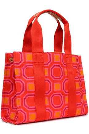 TORY BURCH Leather-trimmed printed canvas tote