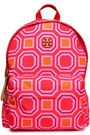 TORY BURCH Leather-trimmed printed twill backpack
