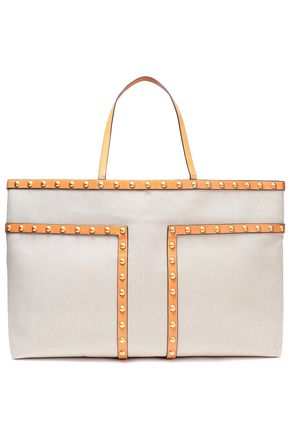 TORY BURCH Block-T studded leather-trimmed canvas tote
