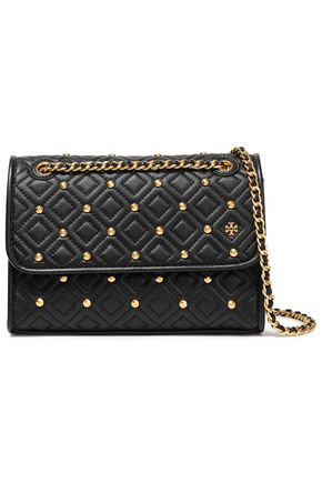 TORY BURCH Studded quilted leather shoulder bag