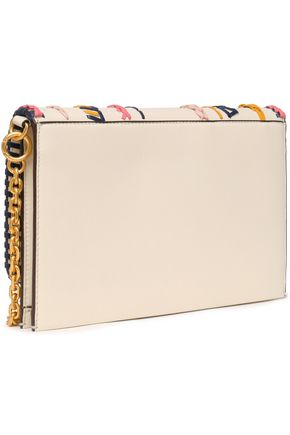 TORY BURCH Whipstitch-trimmed leather clutch