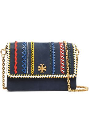 TORY BURCH Embroidered leather shoulder bag