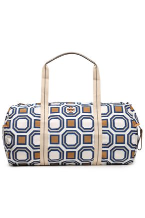 TORY BURCH Leather-trimmed printed twill weekend bag