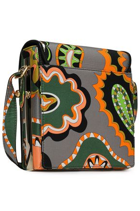 EMILIO PUCCI Leather-trimmed printed silk-twill shoulder bag