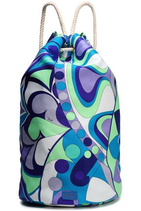 EMILIO PUCCI Leather-trimmed printed twill backpack