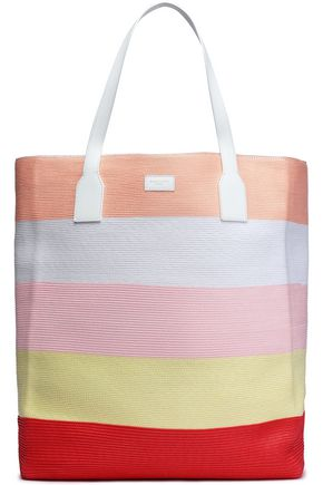 EMILIO PUCCI Leather-trimmed striped woven tote