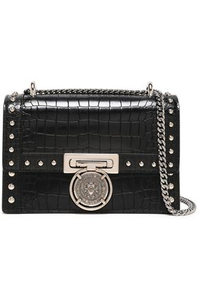 BALMAIN Studded croc-effect leather shoulder bag